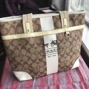 Coach Bags - Coach Brown White & Cream Shoulder Bag Purse